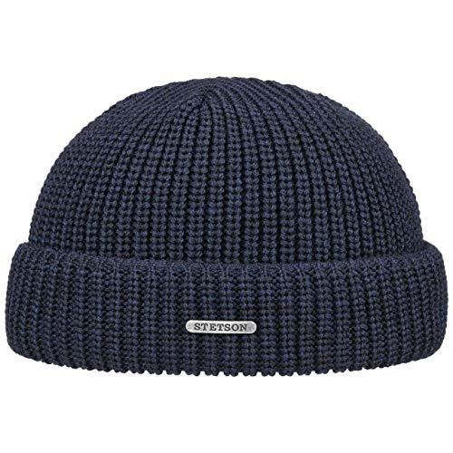 Stetson Nashville Strick Dockercap Herren - One Size (54-59 cm) - Aus 100% Merinowolle Rippstrickmütze aus Wolle - Herrenmütze Herbst/Winter blau One Size