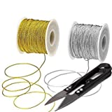 MUYAO 2 Spool Metallic Thread Gold Jewelry Thread Silver Craft String Tinsel String Craft Making Cord,Total Length 218 Yards/ 656 Feet and Give a Small Scissors for Easy Application