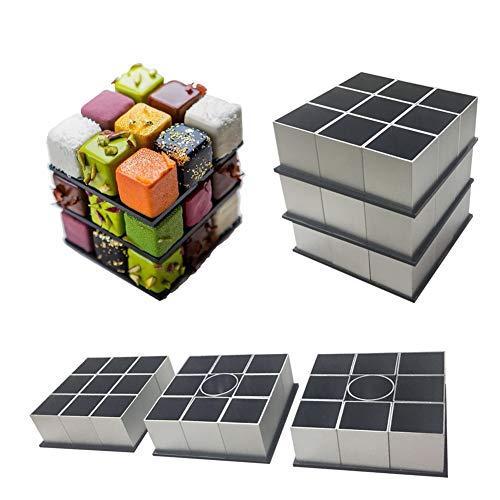 WHCCL Molde de Mousse de Cubo de Rubik,Pastelería Rotativa DIY Hornear Juego de Postre Francés