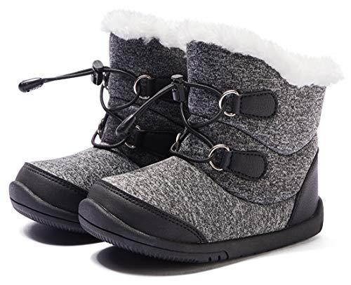 BMCiTYBM Baby Snow Boots Boys Girls Winter Infant Shoes Anti-Slip 6 9 12 18 24 Months Faux Fur Black Size 6-12 Months Infant