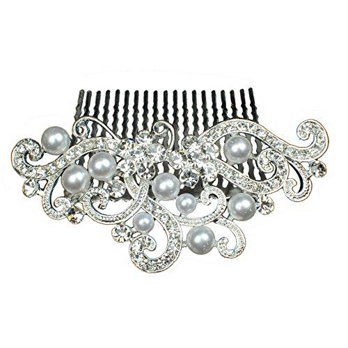 Haarkamm Strass und Perlen Haarschmuck Hochzeit Braut Haargesteck Silber (HK006)