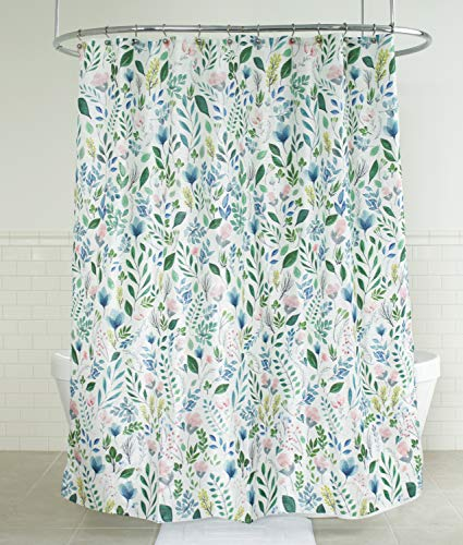 "Splash Home Sia Floral Polyester Fabric Shower Curtain, 70"" x 72"" Inches, Multi Colors/Green"