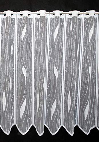 Scheibengardine mit Tropfenmuster 75 cm hoch | Breite der Gardine durch gekaufte Menge in 14 cm Schritten wählbar (Anfertigung nach Maß) | Weiß | Vorhang Küche Wohnzimmer