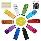 2GB Memorias USB 10 Piezas PenDrives Uflatek Giratoria Pen Drive 2 GB Portátil Unidad Flash USB 2.0 Almacenamiento de Datos Externo Multicolor