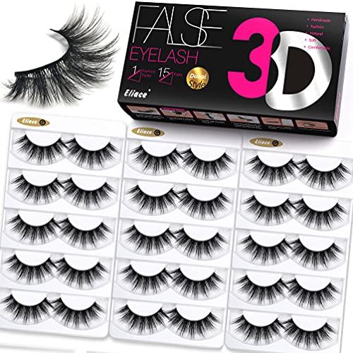 Eliace Lashes False Eyelashes 15 Pairs Mink Eyelashes 3D Faux Full Fluffy Volume Eyelashes Natural Look Wispies, Short Cat Eye Lashes Pack Strips Fake Eyelashes Soft Band Reusable Lashes, Dubai Style