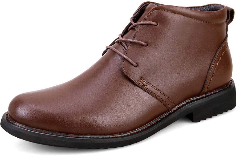 Herren Leder Chukka Stiefel Klassischer Leder Schnürschuh Cowboy Smart Casual Martin Stiefel Retro Chelsea Stiefel