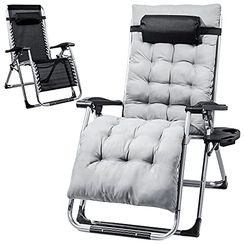 HEANI Lounge Chair Zero Gravity Chair for Indoor and Outdoor,Ergonomic Recliner Chair with Removable Cushion Pad and a Cup Holder Adjustable Design, Supports Over 440lbs/200kg