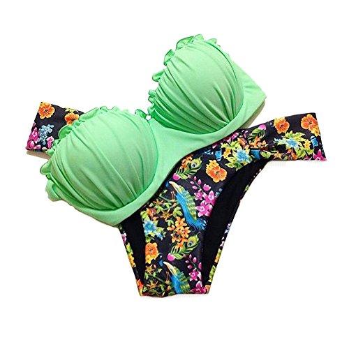 CTHEE Donne Push Up BanCTHEEau Estate Spiaggia Triangolo Bikini Costume da bagno Beachwear Verde Taglia S