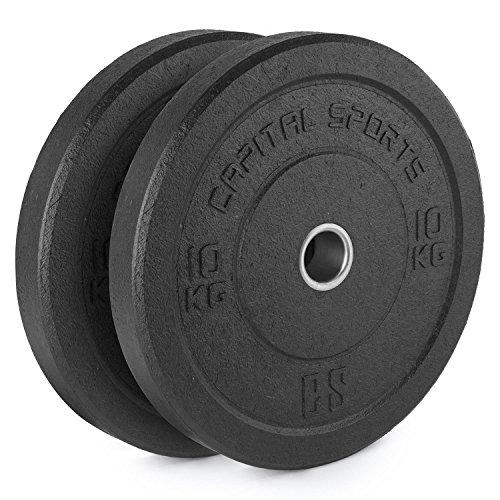 CapitalSports Renit Hi Temp Bumper Plates Discos de Pesas 10 kg (Centro de Aluminio, Apertura de 50,4 mm, para Barras largas y olímpicas, Revestimiento de Goma Negra no daña el Suelo)