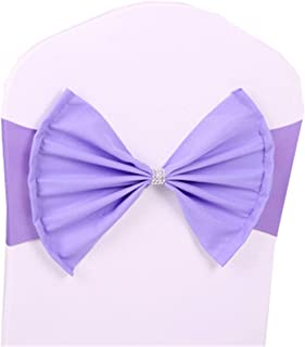 10 pcs Lilac Wedding Chair Sashes Bow Spandex Chair Cover Bands Party Chair Ribbons for Baby Shower Banquet Christmas Thanksgiving Decorations (10, Lilac)
