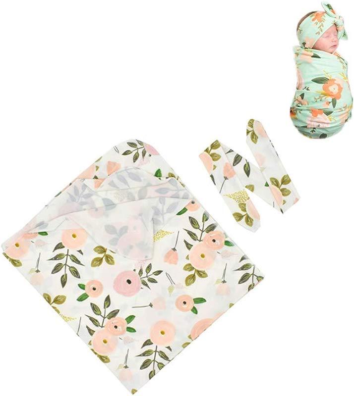 Newborn Boys Girls Flower Print Receiving Blanket Baby Swaddle Receiving Blankets With Headband Sets