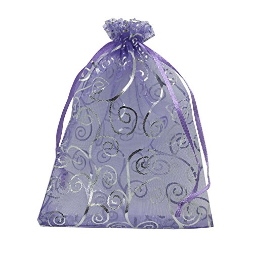 100pcs 5x7 Inches Drawstrings Organza Gift Candy Bags Wedding Favors Bags (Purple with Silver)