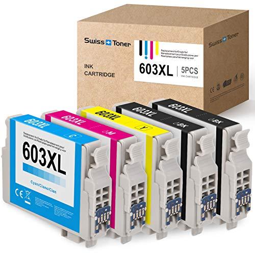 SWISS TONER Kompatibel mit Epson 603XL Tintenpatronen für Epson Expression Home XP-2100 XP-3100 XP-4100 XP-2105 XP-3105 XP-4105 Workforce WF-2810 WF-2830 WF-2835 WF-2850 (2Schwarz/Cyan/Magenta/Gelb)