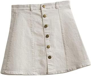 iYYVV Women's Fashion Waist Button Up Skirt Korean Style Denim A-Line Short Skirt
