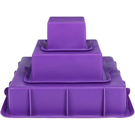 Webake Lot de 3 moules à gâteau carrés en silicone anti-adhésif 22,9 cm, 15,2 cm, 7,6 cm