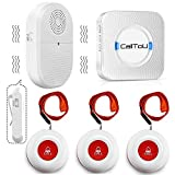 CallToU Wireless Caregiver Pager Call System Vibration Pager System Help Button for Home Elderly Disabled Patient Seniors 1 Portable Receiver + 1 Plugin Receiver + 3 Waterproof Buttons/Transmitters