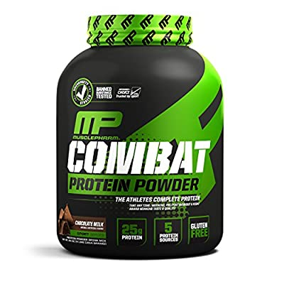 MusclePharm Combat Protein Powder, 5 Protein Blend, Chocolate Milk, 4 Pounds, 52 Servings by Muscle Pharm