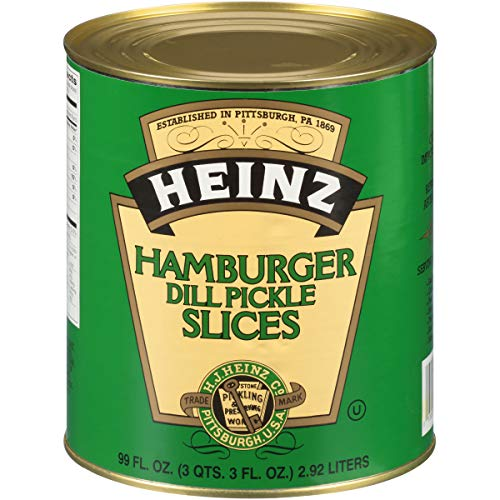 Heinz Dill Pickle Hamburger Cut Slices #10 Can (6.9 lb Cans, Pack of 6)