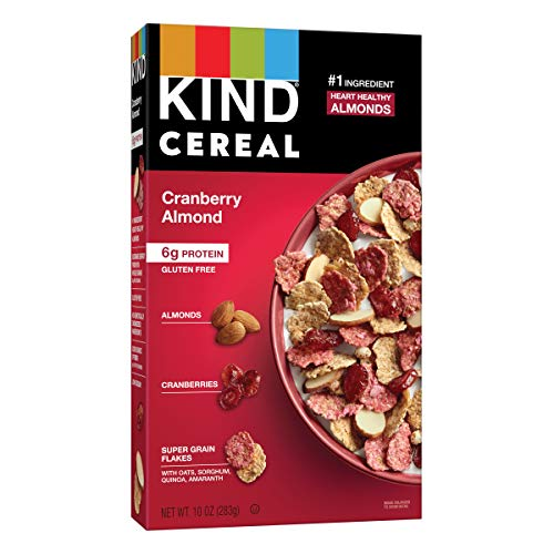 KIND Breakfast Cereal, Cranberry Almond, Gluten Free, 6g Protein, 10 Oz, 4Count