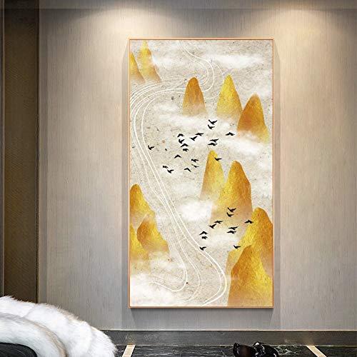 BuhuAZXM Abstract landschapsschilderij poster afdruk muurkunst canvas schilderij bergen en vogels foto's voor de woonkamer 30x60cm Geen frame.