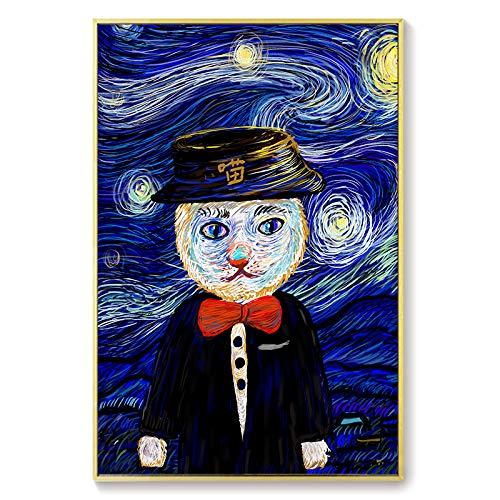 Cat Van Gogh Moderna Tela Wall Art Print Dipinti ad Olio Moderni Poster e Stampe Quadri di Pittura per Soggiorno Divano-Telaio Senza cornice60x90cm