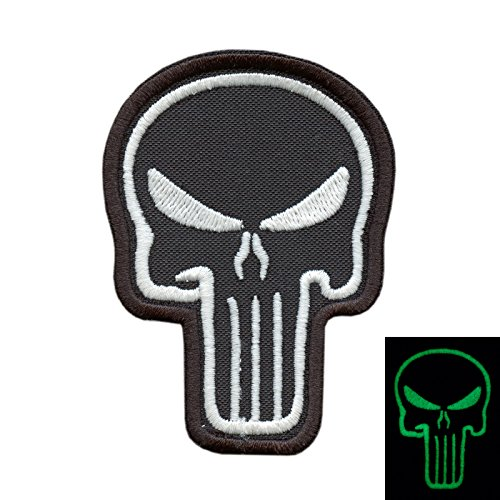 2AFTER1 Punisher Skull Biker Glow Dark GITD Army ISAF Morale Tactical Sew Iron on Patch
