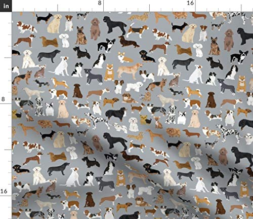 Spoonflower Fabric - Dogs Gray Cute Best Breeds Print Pattern Watercolor Pets Animals Printed on Cotton Poplin Fabric by The Yard - Sewing Shirting Quilting Dresses Apparel Crafts
