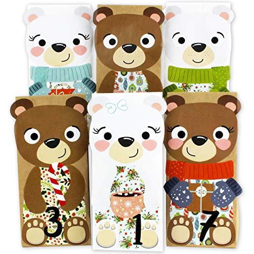Papierdrachen DIY Adventskalender zum Befüllen - Bären zum Aufkleben - mit 24 weißen und braunen Papiertüten und tollen Stickern für Kinder - Weihnachten