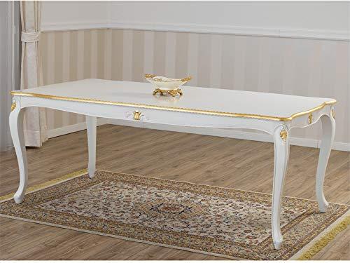 SIMONE GUARRACINO LUXURY DESIGN Mesa de Comedor Charlotte Estilo Barroco Decape Rectangular Color Marfil Detalles Hoja Oro cm 165 x 85