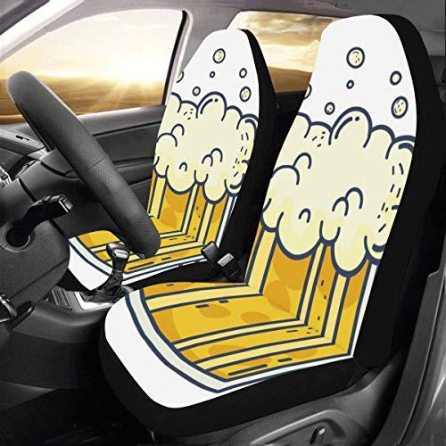 Bier Drink Pattern Cartoon Dekoration Custom New Universal Fit Auto Drive Autositzbezüge Protector für Frauen Automobil Jeep Truck SUV Fahrzeug Full Set Zubehör für Erwachsene Baby (2er Set Front)