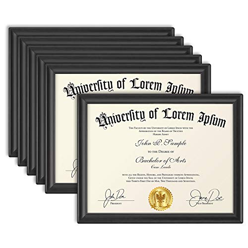 Icona Bay 8.5x11 (22x28 cm) Certificate Frames (Black, 6 Pack), Contemporary Diploma Frames 8.5 x 11, Composite Wood Document Frames for Walls or Table Top, Lakeland Collection