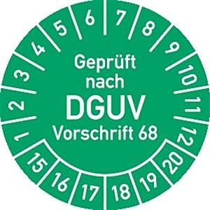 Prüfplakette - Geprüft nach DGUV Vorschrift 68 Jahreszahlen 15 - 20, 40 mm Ø Material: Polyesterfolie selbstklebend grün (temperaturbeständig, hitzebeständig bis +140 °C) 100 Stück