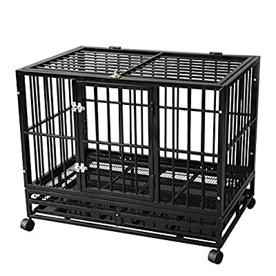 TONYRENA 37 inch Heavy Duty Strong Folding Metal Dog Crate Kennel Playpen for Large Dogs and Pets with Patent Lock and Lockable Wheels&Tray