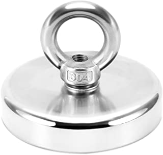 750 LBS Pulling Force Rare Earth Magnet, Super Strong Neodymium Fishing Magnets with countersunk Hole Eyebolt Diameter 3.54inch(90mm) for Magnetic Fishing and Retrieving in River