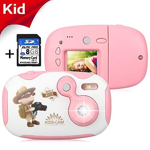 """AGM Fotocamera per Bambini, Videocamera con Custodia Case Silicone 1.44 """"Videocamera HD con Schermo Digitale per Bambini con Memory Card da 8 GB per Ragazze e Ragazzi (Rosa + Banca)"""