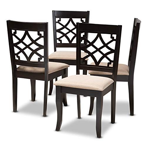 Baxton Studio Mael Wood Dining Chair in Sand and Espresso (Set of 4)