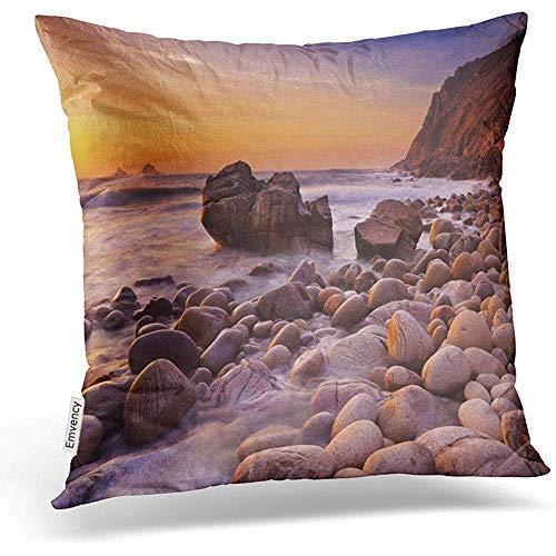 Xinli Shop Fundas de Almohada de Tiro La Hermosa Playa Rcoky Porth Nanven en Cornwall Inglaterra en Sunset Decor Fundas de Almohada Funda de Almohada de poliéster