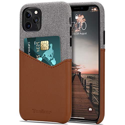 Tasikar Funda iPhone 11 Pro MAX Carcasa Cartera de Cuero y Tela con Tarjetero Estuche Compatible con iPhone 11 Pro MAX (Marrón)