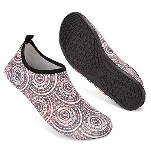 Mabove Damen Schwimschuhe Badeschuhe Neopren Surfschuhe Barfuß Schuhe für Sommer, Beige/987, Gr.- 37-38/ Herstellergröße: 38-39