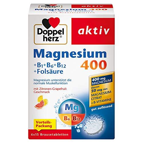 Doppelherz Magnesium 400 Brausetabletten + B1 + B6 + B12 + Folsäure / Magnesium zur Unterstützung der normalen Muskelfunktion / 1 x 90 Brausetabletten