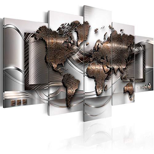 Lona 5 Piezas Fondo De Mapa Mundial De Arte Lienzo De La Lámina Metálica De Oro Mapas Pintura Del Cartel Cuadro De La Pared For La Decoración Casera Enmarcada (Size (Inch) : Size1)
