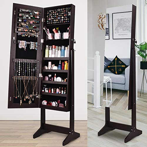 AOOU Jewelry Cabinet with Mirror Full Length, Jewelry Armoire Jewelry Organizer Standing Storage Lockable Jewelry Cabinet, 3 Adjustable Angle (Brown)