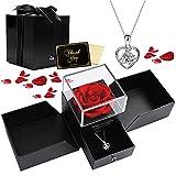Viosmut Ewige Rosenbox, Infinity Rosen Schmuck Geschenkbox mit Herzkette, Echte Rose Rot zum Valentinstag Muttertag Hochzeit Geburtstag Jubiläum Weihnachtstag Romantische Geschenk für...