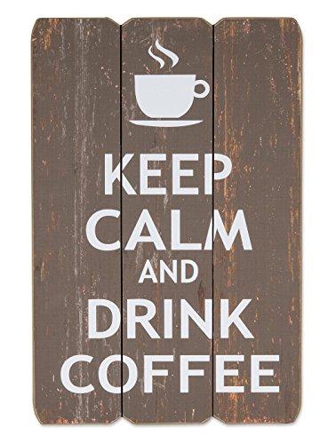 levandeo Wandbild Holzschild in braun Keep Calm and Drink Coffee 60x40cm Kaffee - Holzbild Schild Wandschild Bild Holz Dekoschild Wanddeko Wandobjekt Shabby Chic