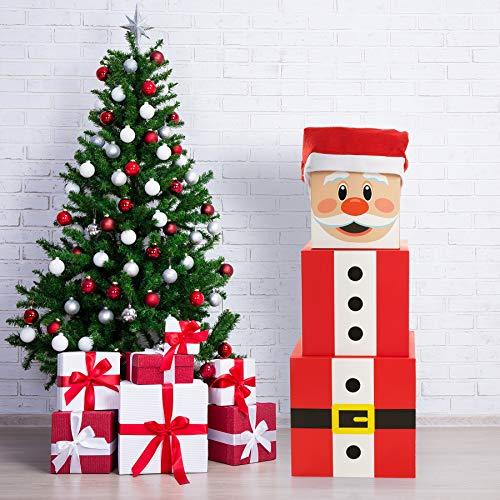 Funnlot Christmas Box Decoration Christmas Stacking Boxes Large Santa Claus Gift Boxes Christmas Nesting Boxes with Lids Xmas Santa Stackable Gift Box Decoration