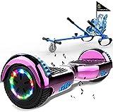 MARKBOARD Hoverboards Hoverkart, Scooter Electrique Auto-équilibré de 6,5 Pouce avec Lumières LED et Haut-Parleur Bluetooth, Hoverboard Motorisés 2x350 W,avec Siège de Kart pour Enfants et Adolescents