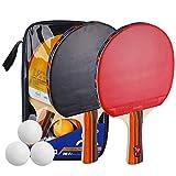 TOMSHOO Kit de Raquetas Tenis de Mesa, 2 Palas de Ping Pong 3 Bolas con Bolso para Deportes al Aire Libre en Interiores (Mango Largo)