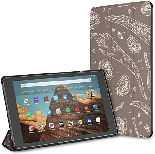 Custodia per una fetta di semi di pepe e tutto il peperone fuoco Hd 10 Tablet (9a / 7a generazione, versione 2019/2017) Hd 10 Kindle Fire Case Cover Kindle Fire Hd 10 Auto Wake/sleep per 10.1 polli