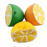 Elenxs La Mitad Blando Jumbo Caliente Frutas de limón Juguete Jumbo, limón perfumado rápido Cámara Rising Llavero Kid Juguete Diversión