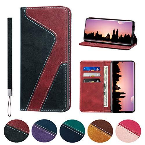 Huping - Funda para Samsung S20, color de piel, estilo de contraste, con tarjetero, a prueba de golpes, tapa para Samsung Galaxy S20, color negro y rojo vino